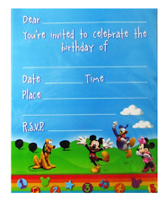 MICKEY MOUSE PARTY INVITATIONS PACK OF 8 BIRTHDAY PARTY SUPPLIES INVITES