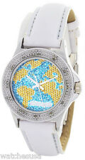 Swiss Master Women Round Silver-tone Case Yellow Map Dial Leather Diamond Watch
