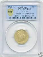 CHARLES X (1824-1830) 20 FRANCS OR GOLD 1825 A PARIS FRAPPE DECENTREE PCGS VF35
