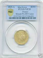 CHARLES X (1824-1830) 20 FRANCS OR GOLD 1825 A PARIS FRAPPE DECENTREE PCGS VF35