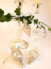 Christmas sparkling mercury glass baubles SET of 5 and bells vintage antique