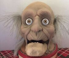 OLD MAN HEAD WITH CHATTERING TEETH HALLOWEEN PROP LIFE SIZE 1 TO 1 SCALE
