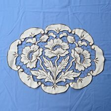 Vintage Linen Doily Runner Floral Poppy Embroidery Cut Work 15-20 Oval