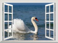 3D Window View Swans Caribbean Sea Wall Sticker Mural Art Lake Animal Mural