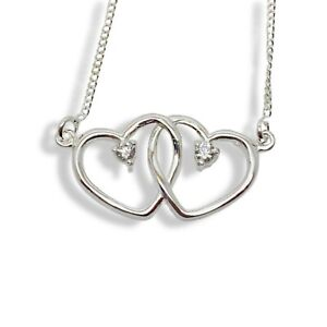 Double heart silver pendant necklace with white gold finish