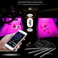 12V Car Interior RGB LED Strip Lights Foot Atmosphere Light Remote Control 2020