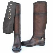 GUCCI New sz 39.5 - 9.5 Designer Riding Horsebit Womens Flats Shoes Boots Brown