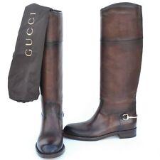 GUCCI New sz 39.5 - 9.5 Designer Riding Horsebit Womens Flats Shoes Boots Brown