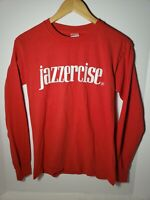 Vintage Esque Jazzercise Long Sleeve Tee Shirt Small Red Pullover Tshirt 90s Y2K