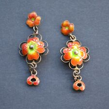 *vintage GORGEOUS Chinese Enamel Silver GoldWash Orange Flower Drop Delicate