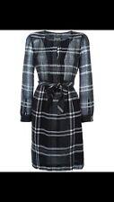 $595 BURBERRY BRIT Black NOVA CHECK Wool Blend FALL SHIRT DRESS SZ 2