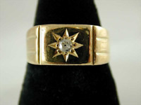 18CT Gold Gents Diamond Solitaire Signet Ring Art Deco Circa 1920s Size N 6.4g