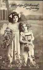 Gruss GEBURTSTAG Glückwunsch Motiv Kinder Mädchen 1917 gelaufen Kleinflottbek