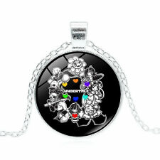 1PCS UNDERTALE Cabochon Silver Glass Chain Pendant Necklace   DD   516