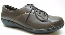 Clarks Brown Leather Lace Up Oxford Sneaker Walking Shoes 6.5W 6.5 Wide MSRP $89