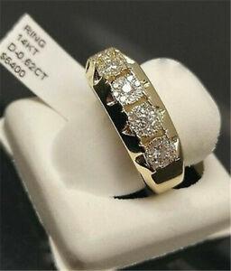 Men Fashion 14K Gold White Sapphire Wedding Ring Engagement Jewelry Gift Sz 6-12