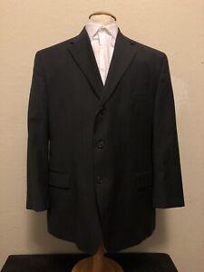 BACHRACH Men's Suit Jacket Black Italian Pinstriped Size 38R Three-Button
