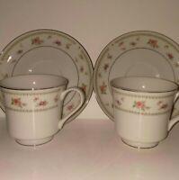 Vintage ABINGDON Japan Fine Porcelain China Tea Cup & Saucer Set of 2