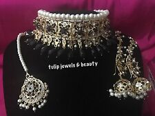 Indian / Pakistani Jewellery Hyderabadi Choker Necklace Jhumkka  & Tikka,Set