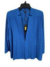 misook misses blazer jacket knit cardigan aqua blue stretch MEDIUM NEW $398 G116