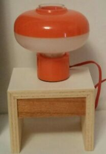 Vintage BODO HENNIG Dollhouse MOD SPACE AGE table LAMP Orange 1/12 Germany 60s