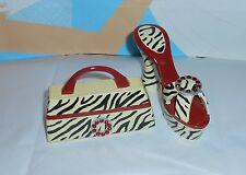 Embellished Resin Platform Shoe & Handbag Novelty Jewelry Boxes Black & White