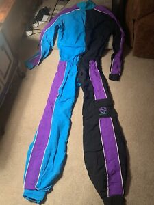 Rare Jumpbubble Skydiving Parachute Jump Suit Purple blue L Vintage USA