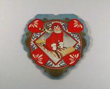 "Vintage 1940's Valentine Card Girl on Sled Skier Skiing 3 7/8"" x 3 3/4"""""
