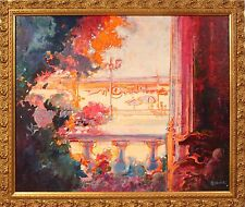 French 20th Century Charming and Colorful Balcony Scene by Artist Patrick Robart