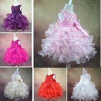 Flower Girl Princess Bow Dress Toddler Baby Kid Wedding Party Pageant Tutu Dress