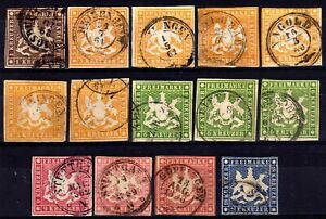 GERMAN STATES: WURTTEMBERG 1859-62 IMPERF USED SELECTION, 14 STAMPS