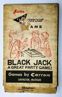 Vintage 1966 Carrom Black Jack Wood Board Game Original Box & Dice