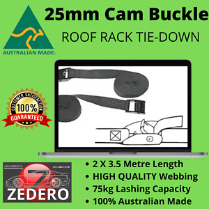 25mm Cam Buckle Quick Tensioning Roof Rack General Tie Hold Down 75kg PAIR of
