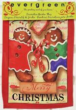Evergreen Garden Flag Merry Christmas Gingerbread Cookies Suede Reflections NIP
