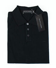 NWT RALPH LAUREN BLACK LABEL Black Mesh Cotton Blend Polo Shirt Size M $195