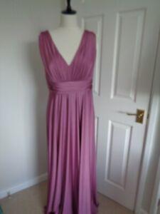 BNWT Biba Rive Gauche Rose Pink Deep V Long Maxi Dress size 14