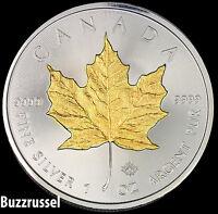 2016 Canadian Silver Maple Leaf Coin .999 Fine 24K Gold Gilded, BU 1 Ounce  FS