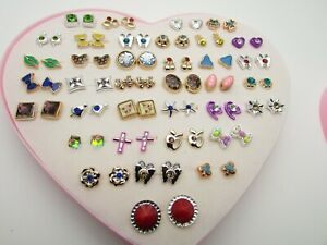 Crystal Bow Cherry Earrings 36 Studs Stars Colourful Gems Various Hypoallergenic