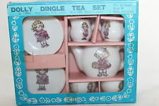 "VINTAGE DOLLY DINGLE TOY CHINA TEA SET 1983 JAPAN NIB NEVER USED BOX IS 5 7/8"" X"