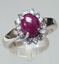 925 Silber Ring klassisches Design Rubin besetzt Harry Ivens RG 60/19,1mm /A879