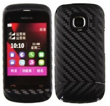 Skinomi Carbon Fiber Black Phone Skin+Screen Protector Cover for Nokia C2-03