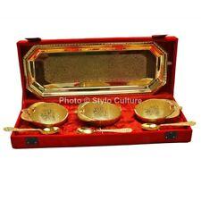Apple Brass Decorative Centerpiece Bowl Set Serving Gold Plated Floral Motifs