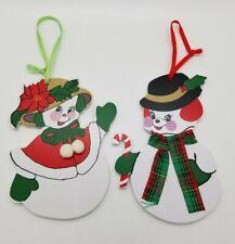 Vintage 1998 Kurt Adler Frosty the Snowman & Crystal wooden ornaments
