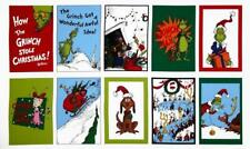 "GRINCH CHRISTMAS Fabric PANEL 100% Cotton 10 Blocks OOP 24"" x 44"" Free Shipping!"