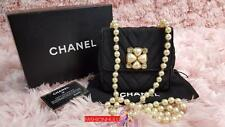 RARE CHANEL VINTAGE Nylon Crystal EMBELLISHED Pearl Strap Flap Bag Gold HW