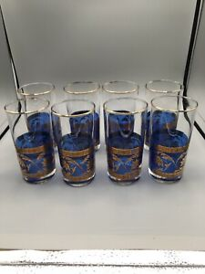 "Cobalt Blue Drinking Glasses w/Gold Leaves & Lotus Flowers 5.5"" Tall EUC"