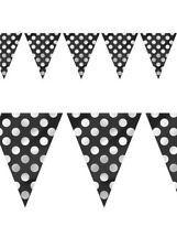 Polka Dot Flag Shaped Banner 12ft Long Bunting Garland Party Decorations Black