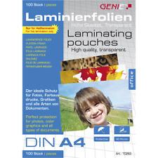 100 St. Genie Laminierfolien DIN A4  80 Micron für Dokumente und Fotos