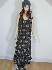 SALE  Hebbeding lagenlook brown/ grey/ black sleeveless silk dress 1L  £179.00