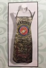 "Marine Camouflage Fabric Apron Marine Emblem 100% Cotton 1 Size Fits All 26""X30"""